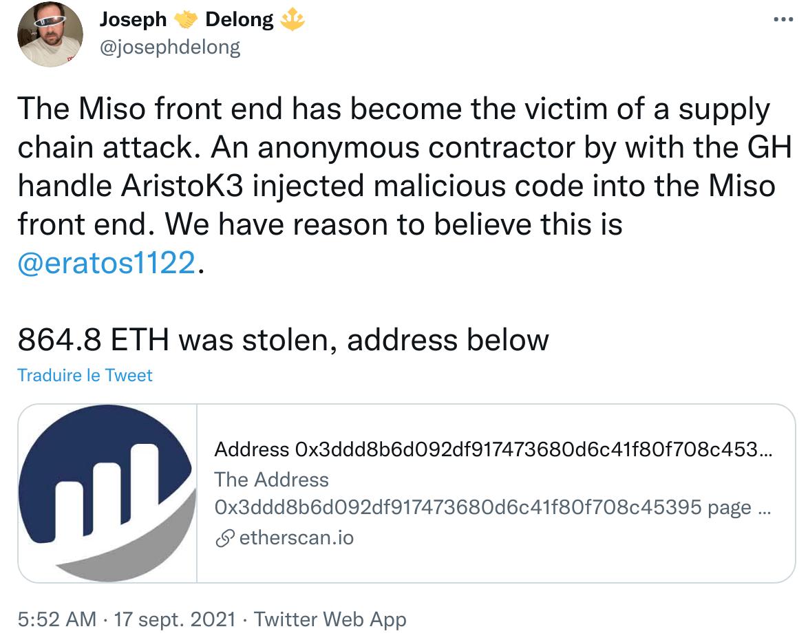Publication Twitter depuis supprimée de Joseph Delong annonçant le hack de Miso