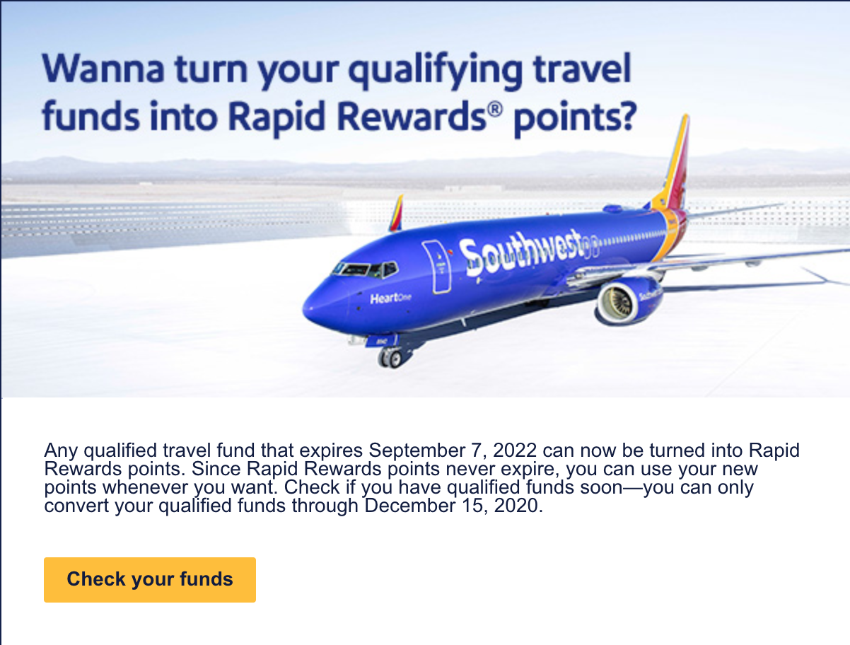 Screenshot of Southwest Travel Funds Email