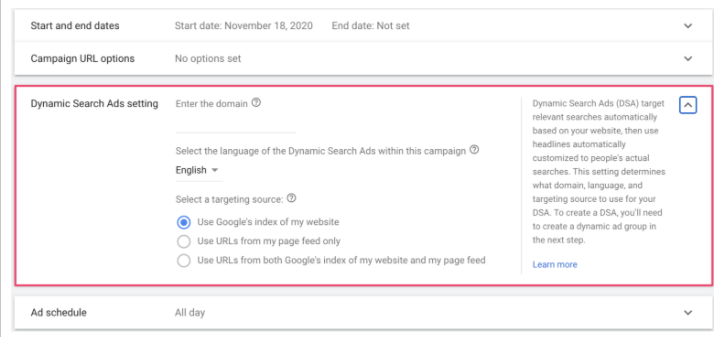 How to adjust  dynamic ads settings ads