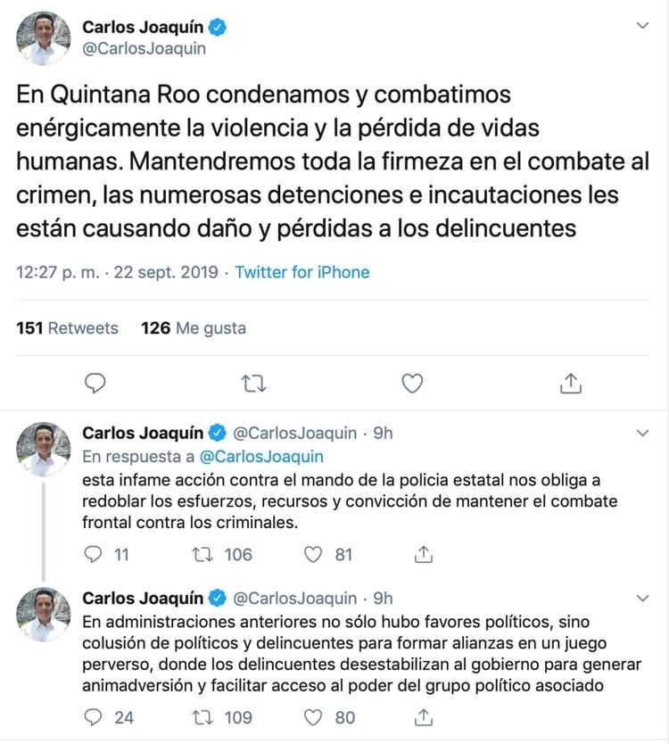 El gobernador actual acusó a la pasada administración de favores políticos y colusión con delincuentes (Foto: Twitter)