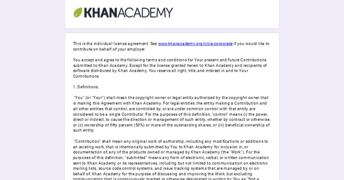Khan Academy Contributor License Agreement Individual