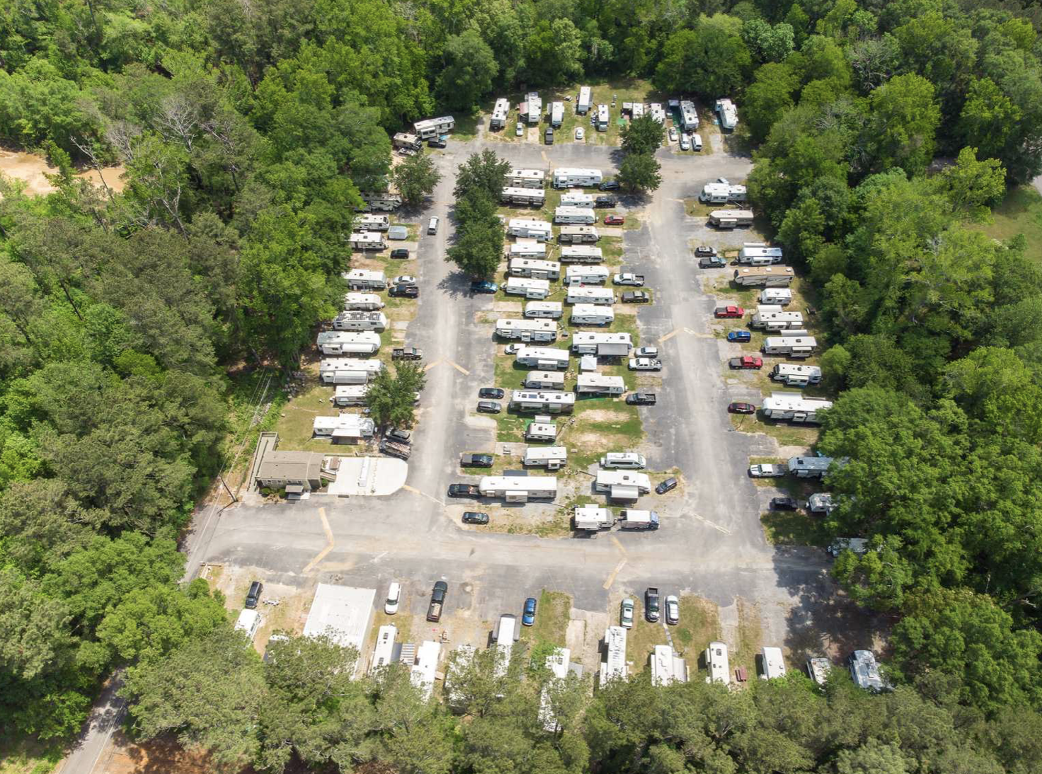 Ariel view of RV Park in the woods