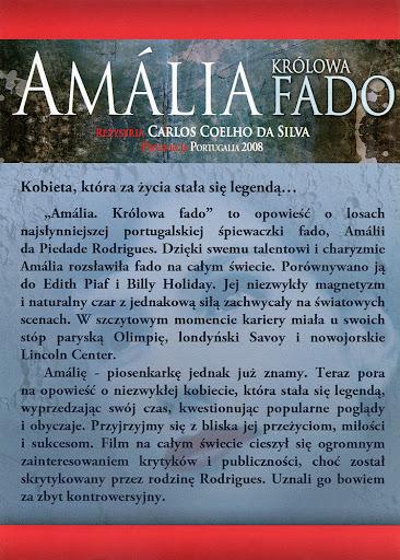 Tył ulotki filmu 'Amalia. Królowa Fado'