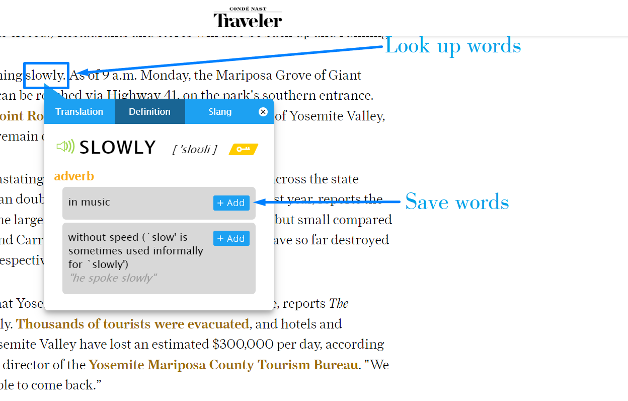 Looking up words with eJOY eXtension