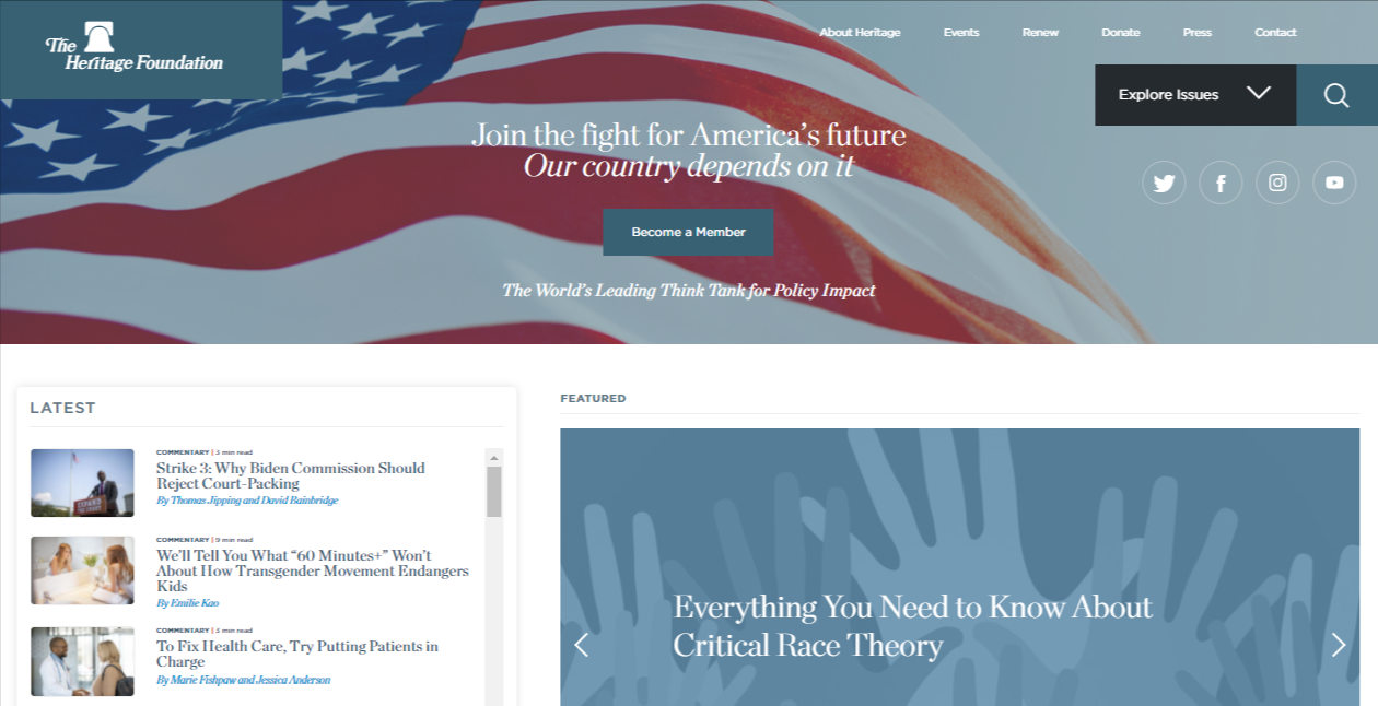The Heritage Foundation homepage