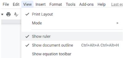 show ruler