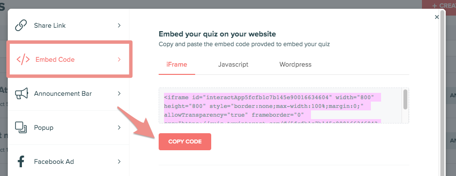 copy code in Interact