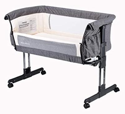 Mika Micky Bedside Sleeper Bedside Crib Easy Folding Portable Crib, Grey