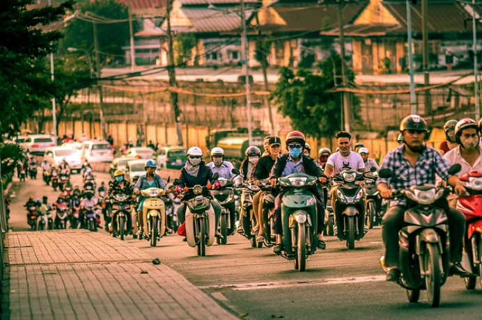 Riders traveling in large group: Buying a Motorcycle in Vietnam