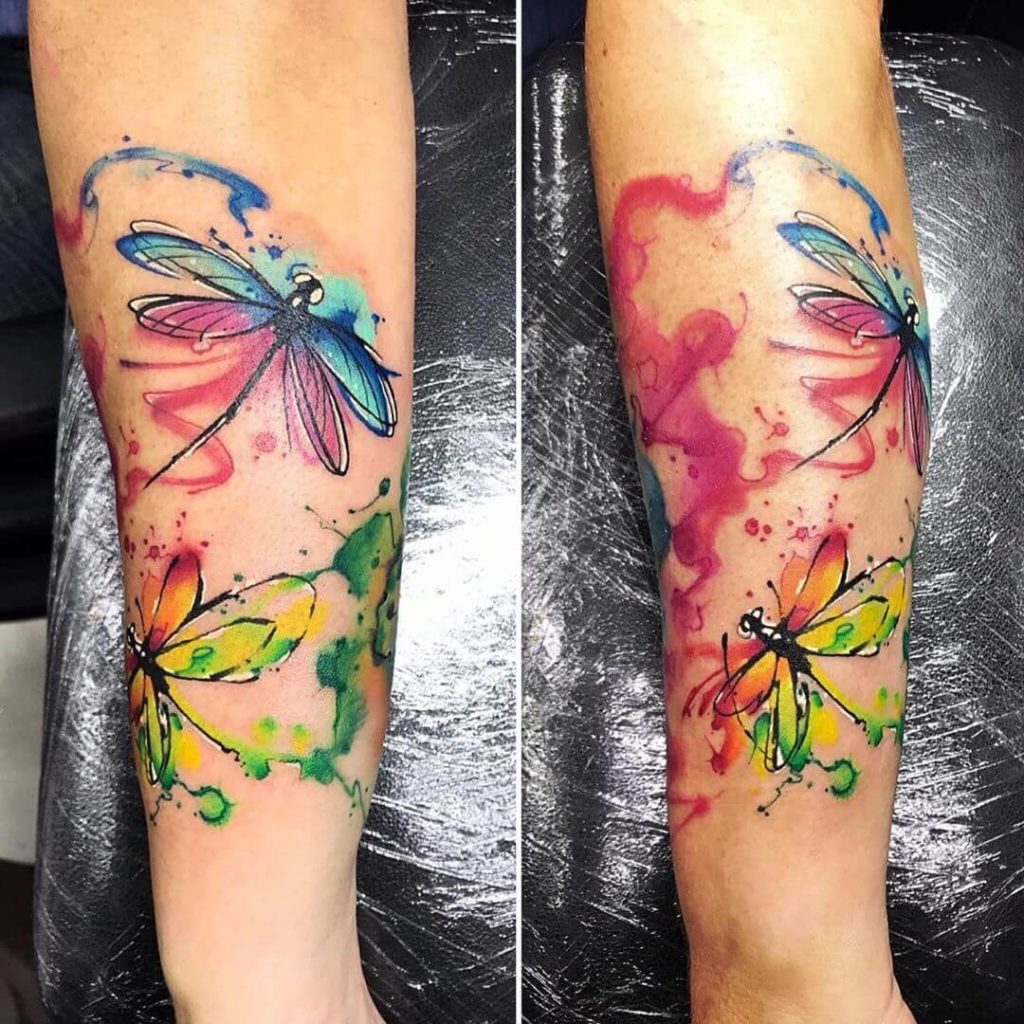 watercolour dragonfly tattoo on arm