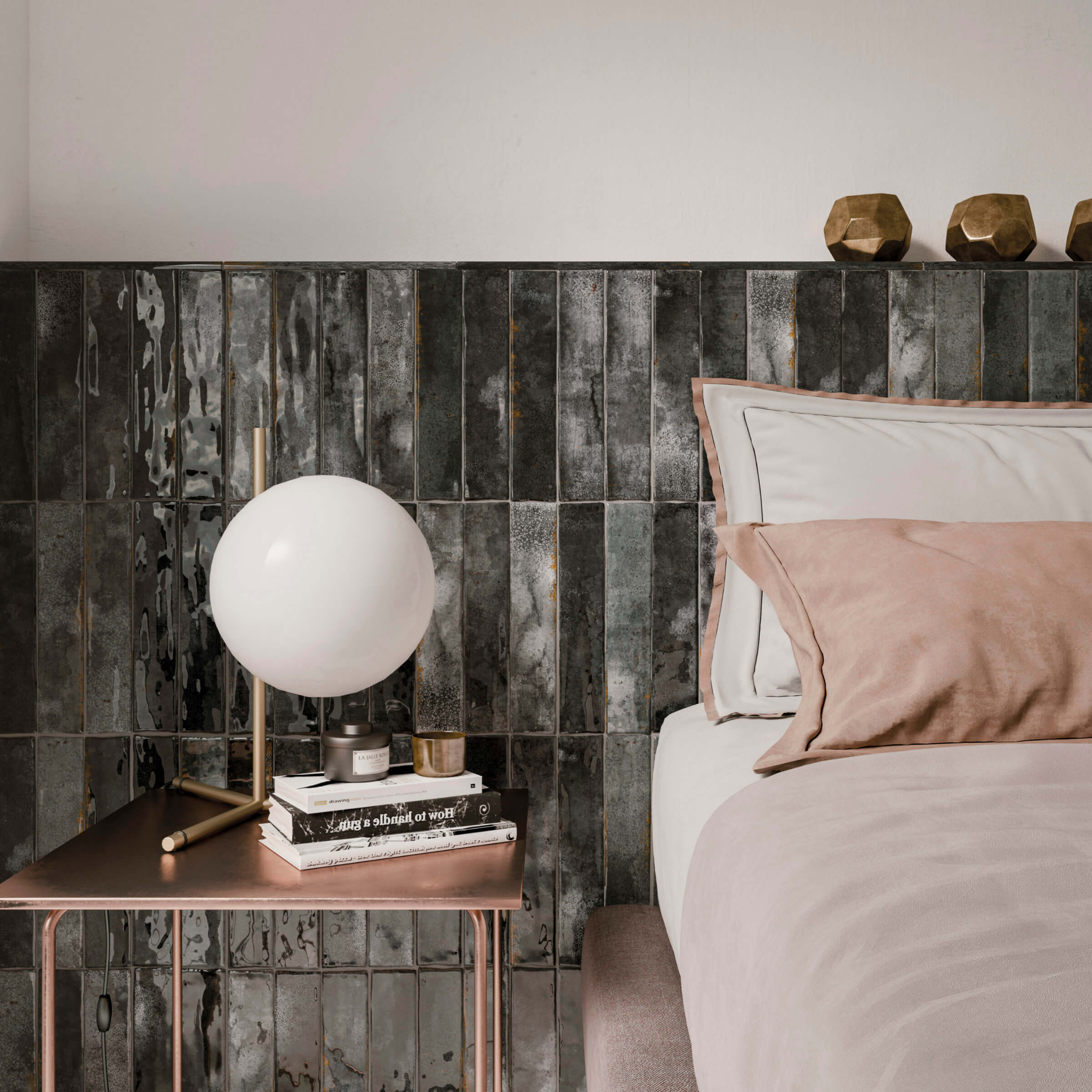 Bedroom with black tile wall