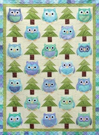 Quilt Featuring Little Blue Owls and Trees