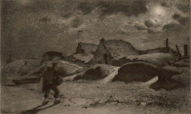 Henri Delavallée (Reims, 1862 ; Pont-Aven, 1943) Retour de pêche la nuit, 1891 Eau-forte, aquatinte, signée, 12 x 20 cm Coll. Musée de Pont-Aven, inv. 1990.9.3 © Musée de Pont-Aven