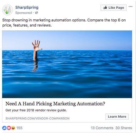 SharpSpring Facebook Ad Screenshot