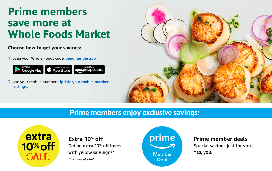 Amazon Prime Whole Foods discount screenshot