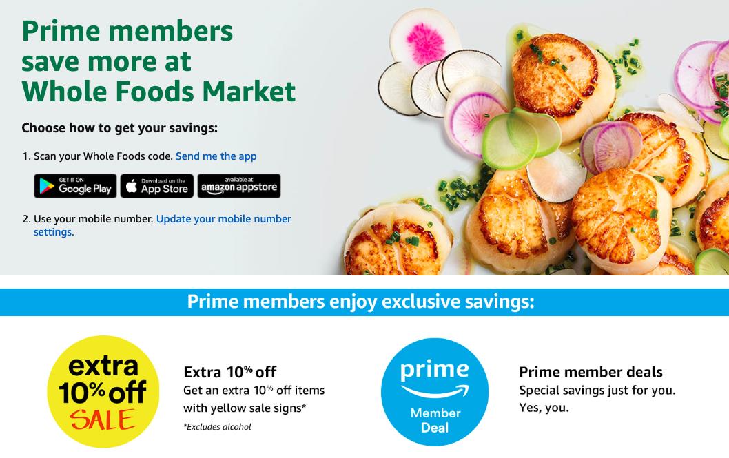 Amazon Prime Whole Foods discount screenshot