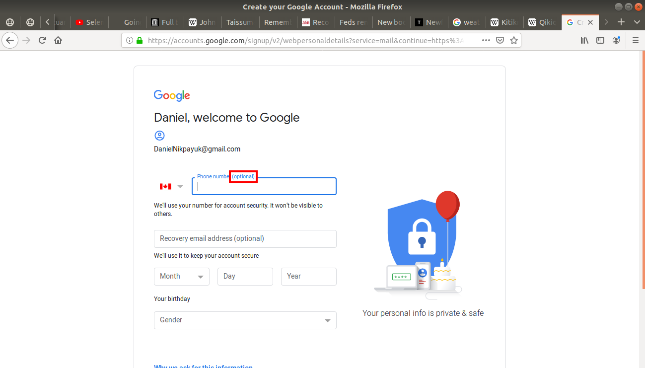 Phone number (optional) highlighted on Gmail