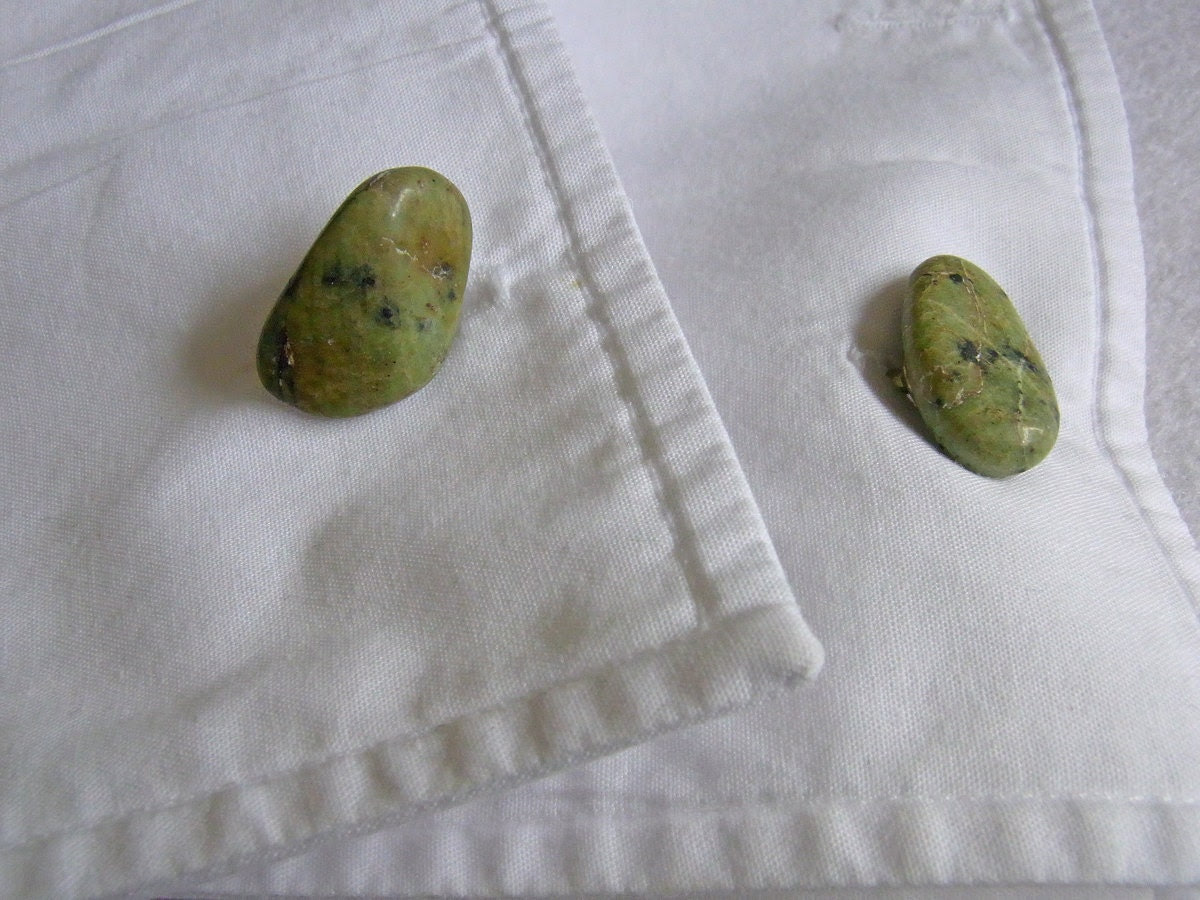 Green Shetland Island Serpentine Semi Precious Stone Cufflinks, Gifts under 10 pounds