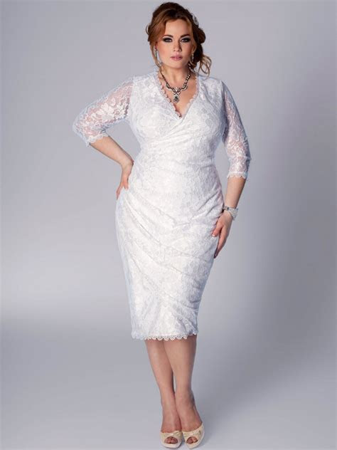 plus size short lace v neckline wedding dressCherry Marry