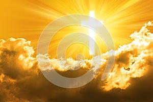 Religion Cross and Golden Sky