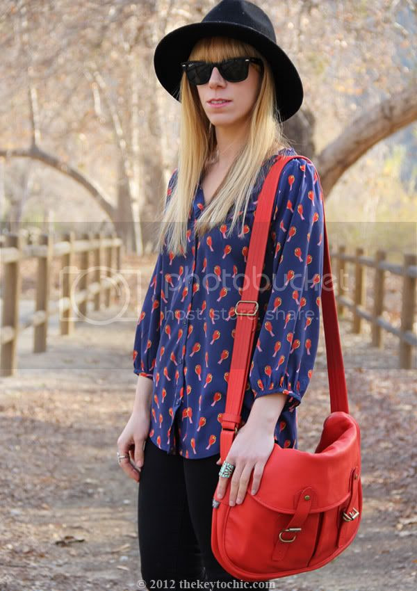 Old Navy bird print blouse, Cheap Monday jeans, Upla satchel, Los Angeles fashion blog, southern California style