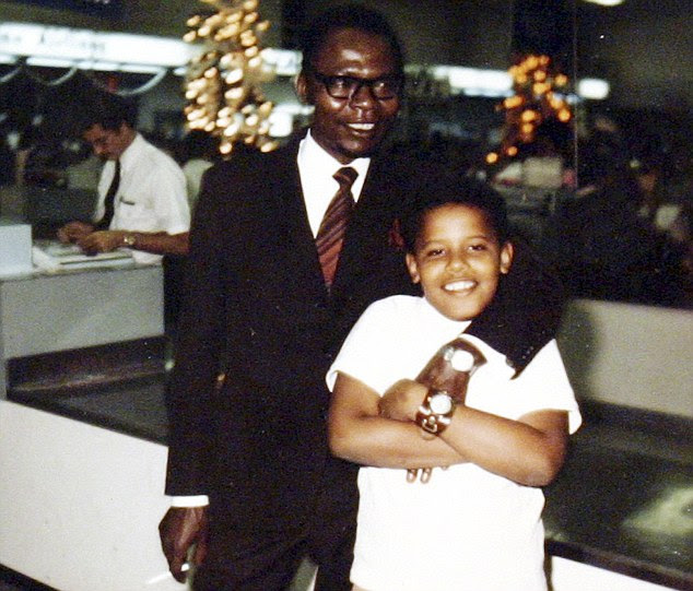 Father and son: The Barack Obamas together, when the US President was just 10 years old
