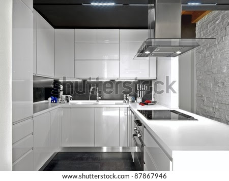 White Modern Kitchen With Steel Appliances Stock Photo ...