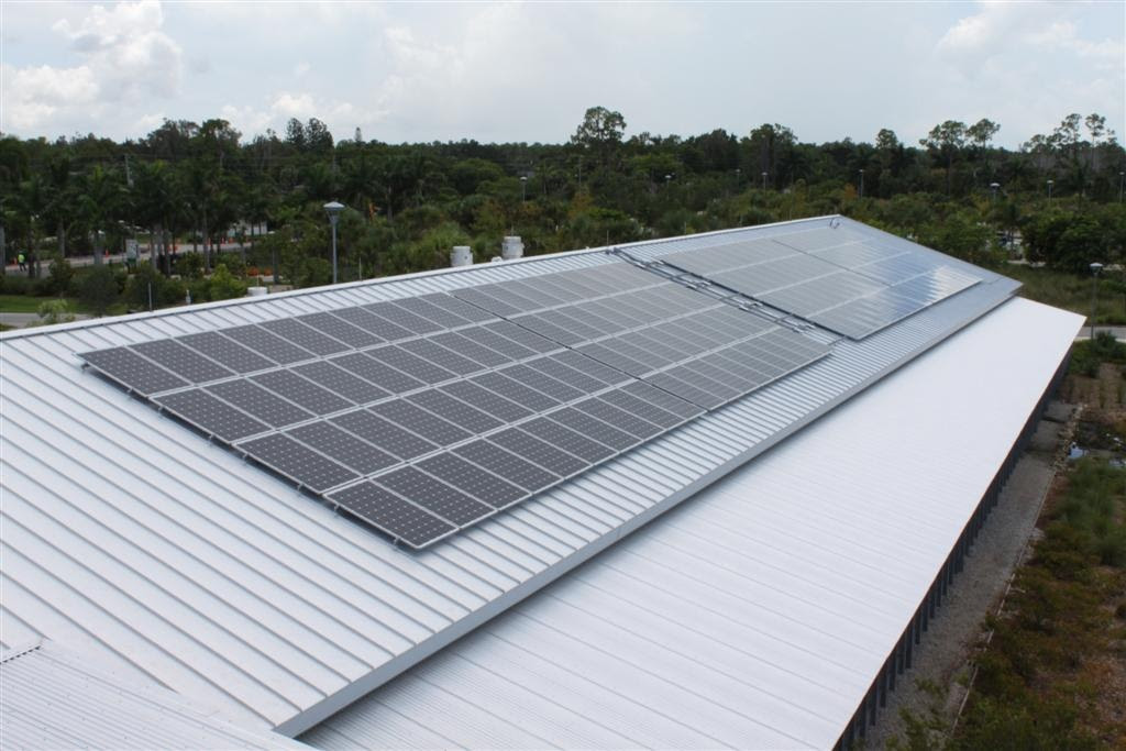 Metal roof with solar panels