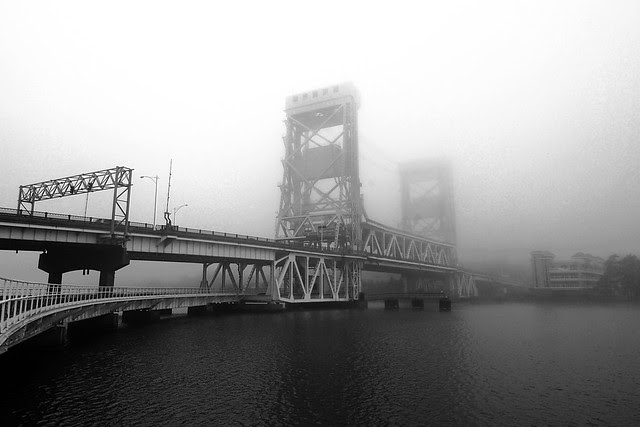 The Portage Lake Lift Bridge in a heavy fog.