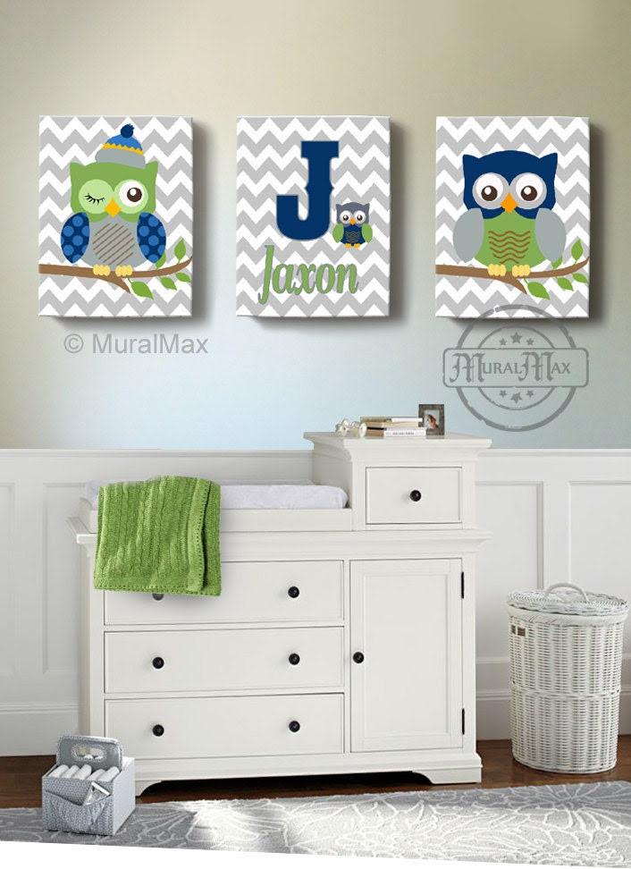 Boys wall art Baby Nursery Decor OWL canvas art Owl by ...