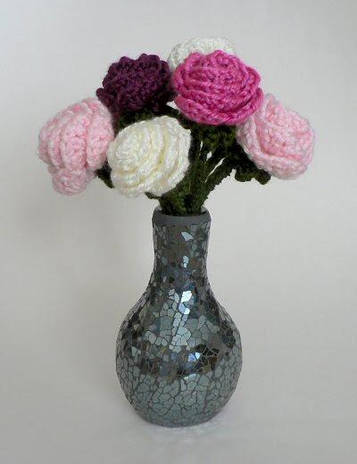 vase of crocheted roses