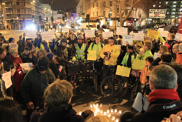 Kings Cross Christmas Vigil for the London Cyclists killed in 2011 on London's roads