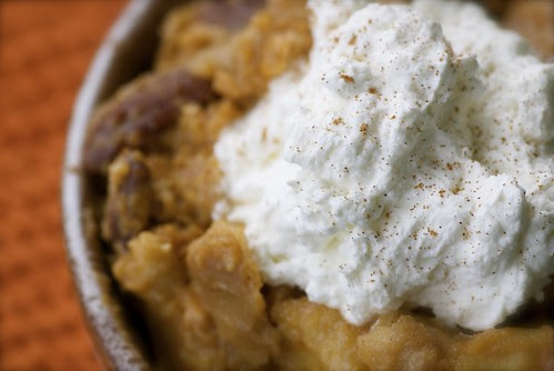 pumpkin pie bread pudding with maple and pecans