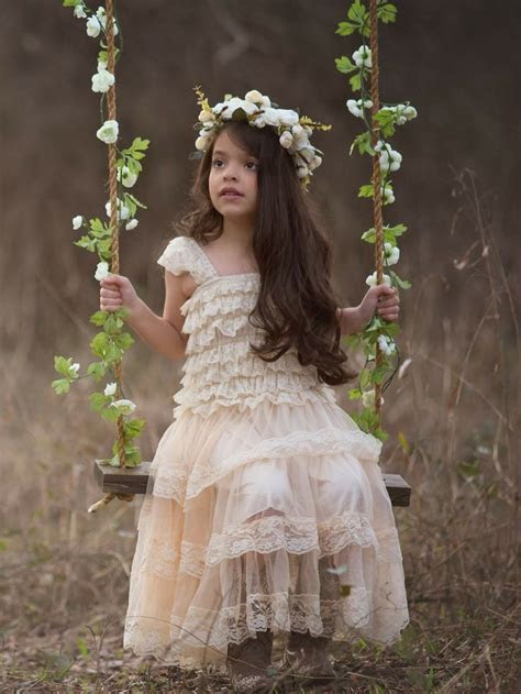 RUSTIC LACE FLOWER GIRL DRESS (CHAMPAGNE) from Country
