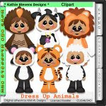 Dress Up Animals Clipart - CU