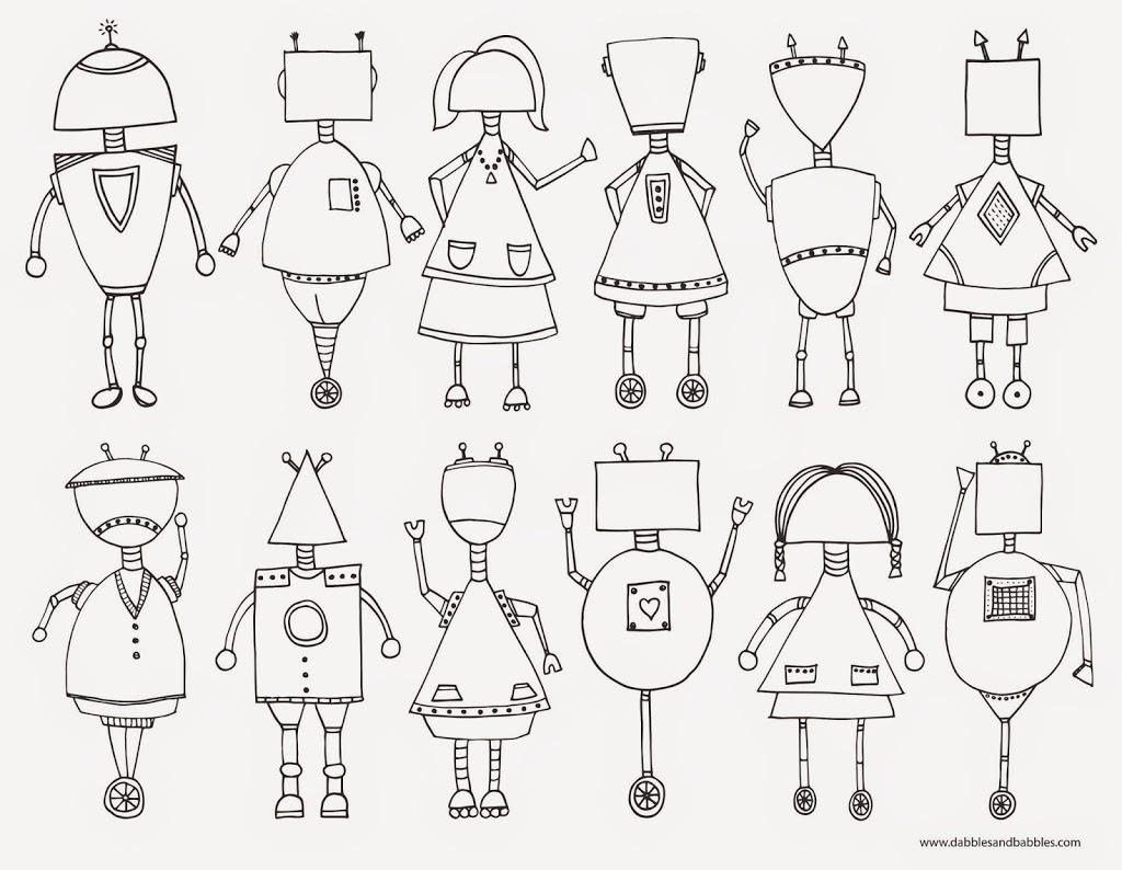 Für Zwischendurch Robotergesichter malen