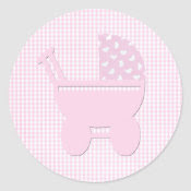 Baby Girl Pink Cute Carriage sticker