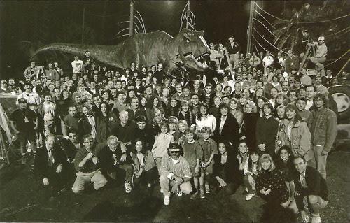 "jurassicparkpr:<br /><br />Must have been fun to make the best movie of all time!<br /><br />Always loved this photo. It's like the ""Where's Waldo"" of Jurassic Park cast & crew. Neat seeing Tim & Lex with their identically-dressed stunt doubles."