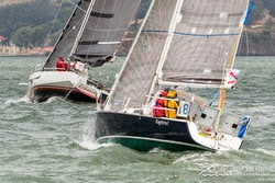 J/92 sailboat starting Pacific Cup in San Francisco