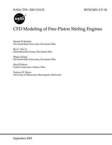 (PDF) CFD Modeling of Free-Piston Stirling Engines