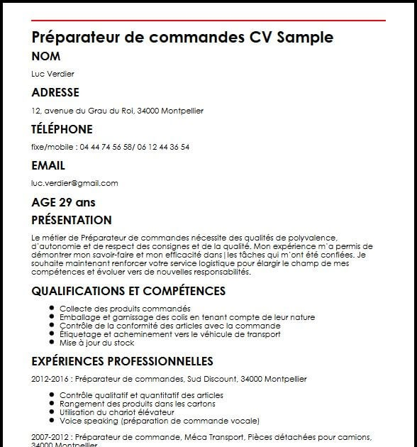 Model Cv Preparateur De Commande Word