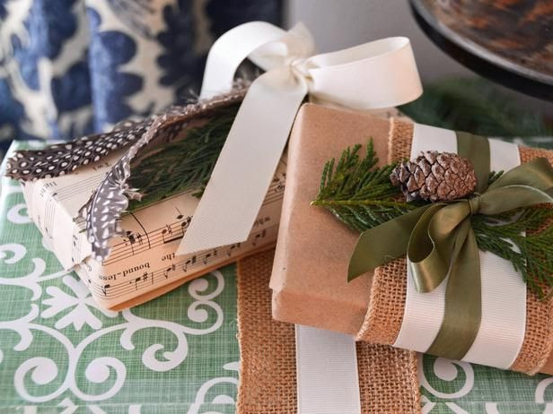 Natural Gift Wrap- burlap, pinecone, ribbon, etc.