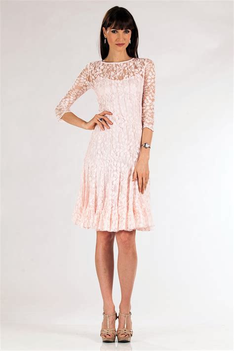 Blush lace dress with sleeves   Hairstyle for women & man