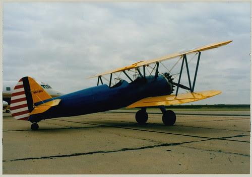 Biplane on runway
