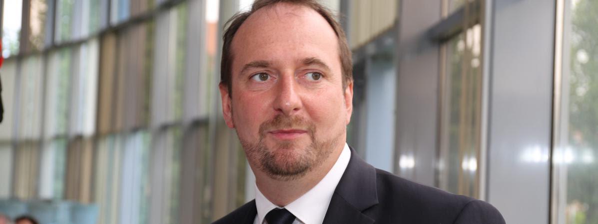 Christophe Arend, alors candidat LREM aux législatives contre le candidat du FN Florian Philippot, le 18 juin 2017, à Petite-Rosselle (Moselle).