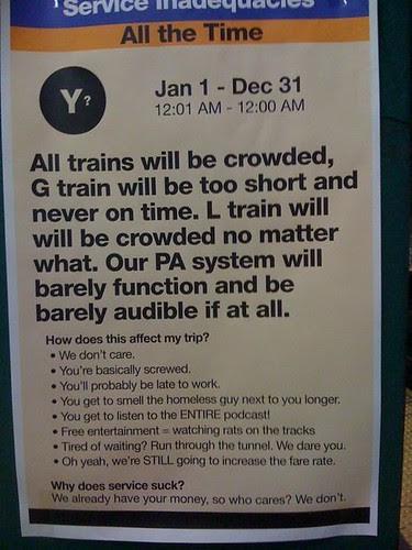 Fake NYC subway notice from Gothamist