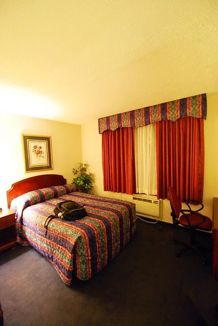 A standard looking hotel room.