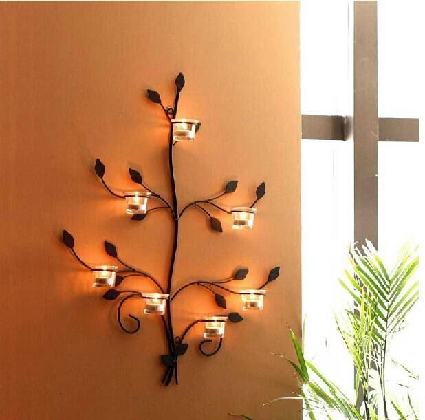 vintage albero candela titolari di lusso vetro ferro sui rami candeliere brand design parete cerimonia nuziale 15 Chic Wrought Iron Wall Candle Holders You Will Admire