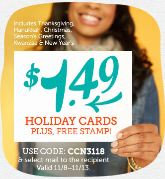 $1.49 Holiday Cards + Free Stamp When You Select Mail to the Recipient at Cardstore!