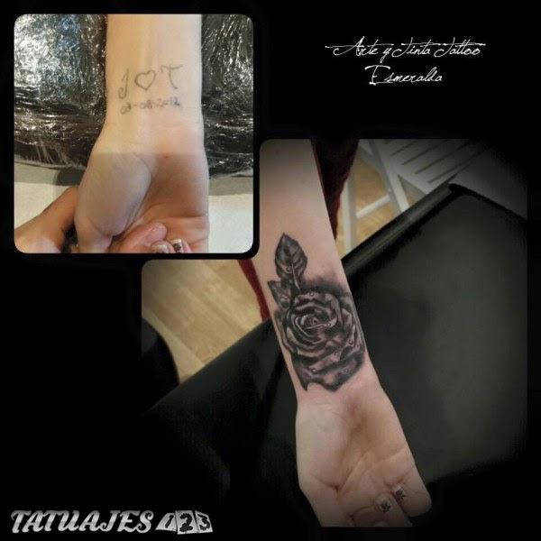 Cover Up Con Rosa Realista Tatuajes 123